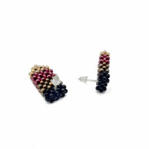 Czarno brązowo bordowo beżowe kolczyki z koralików