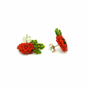 Kolczyki Borowina czerwono zielone baranek sztyft stalowy