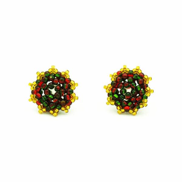 Zielono czerwono złote kolczyki na sztyfcie akrylowym przodem