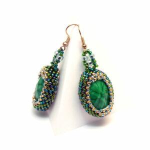 Kolczyki TANO zielone z kamieniami
