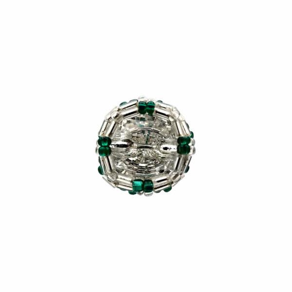 A! Guzik srebrno zielony pierścionek
