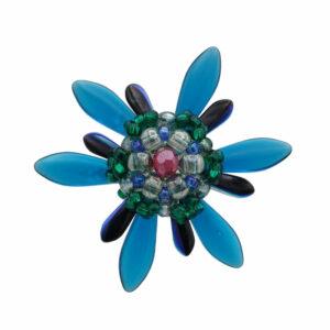 Pierścień z grotów niebieskich i zielonych koralików