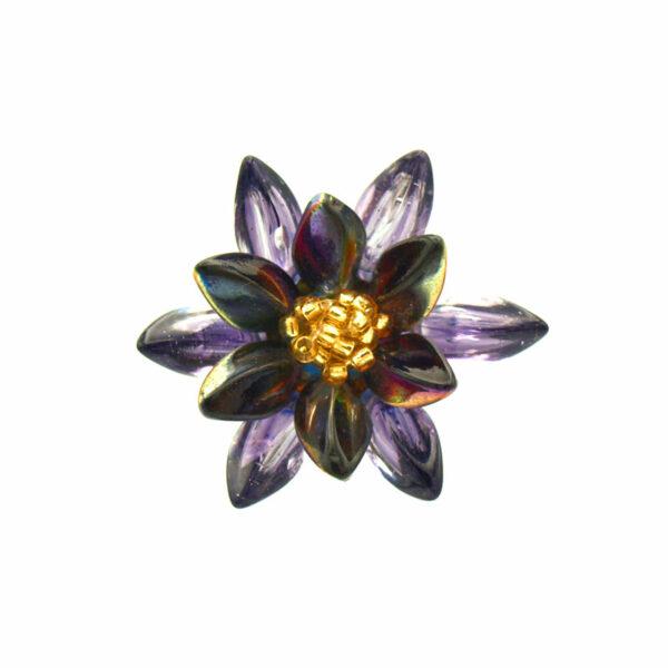 Pierścień fioletowo tęczowy ze złotym oczkiem