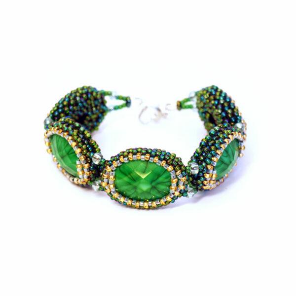 Bransoletka segmentowa zielona z kamieniami