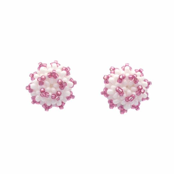 Różowo białe kolczyki na sztyfcie Różowa porzeczka